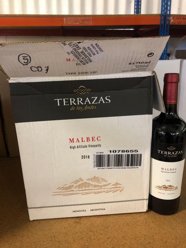 6 750ml Bottles Of Terrazas Malbec 2016 Price Estimate