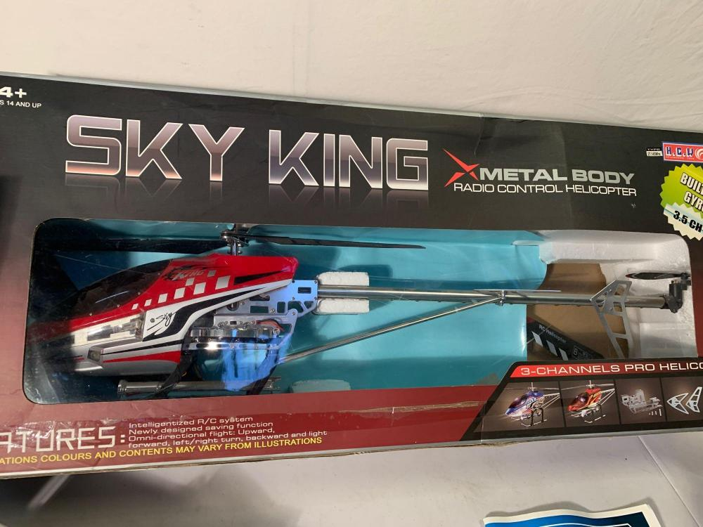 A boxed sky king metal body radio controlled helicopter, a metal